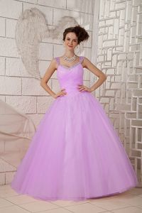 New Arrival Tulle Straps Princess Lavender Military Ball Gowns