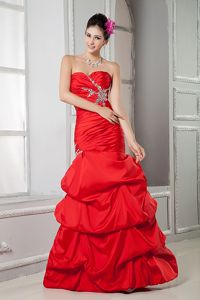 New Style Red Beaded Military Ball Dress with Pick-ups under 150
