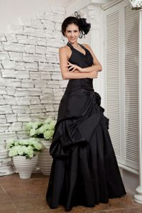 Wholesale Taffeta Halter Black Military Ball Gowns with Pick-ups