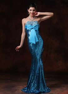 Mermaid Bow and Sequin Accent Dresses for the Military Ball Cheap