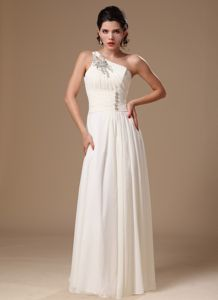 Vintage White Chiffon Beading Military Ball Gown with One Shoulder
