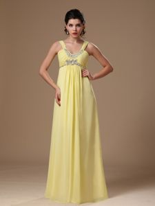 Yellow Chiffon Evening Gowns for Military Ball with Beading Bodice