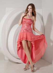 Sequin Bodice Strapless High-low Military Ball Gowns in Watermelon