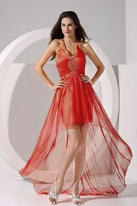 Special Halter High-low Gown for Military Ball with Criss Cross Back