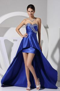 Blue High-low Sweetheart Military Ball Dresses with Beads and Ruche