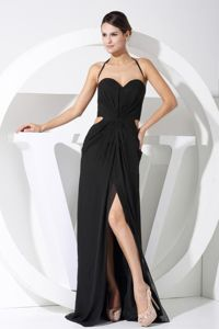 Black Halter Slit Formal Dresses for Military Ball with Cutouts Waist