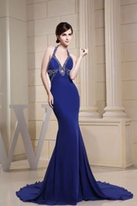 Royal Blue Halter Beaded Dresses for Marine Corps Ball Sweep Train