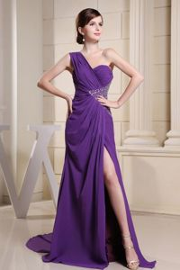 One Shoulder Purple High Slit Beading Military Ball Attire Brush Train
