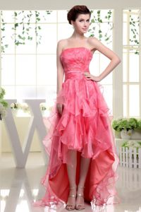 Best Ruffled High-low Beading Dress for the Military Ball in Coral Red