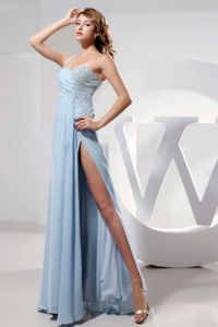 Sky Blue Single Shoulder High Slit Gown for Military Ball with Beads