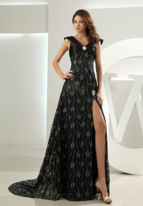 Court Train High Slit Lace Evening Gowns for Military Ball with Beads