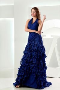 New Style Halter Royal Blue Military Ball Gowns with Ruffled Layers