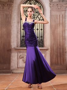 Purple Straps Ruched and Beaded Marine Corps Ball Gowns in Japan
