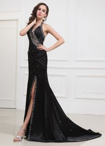 Gorgeous Halter Beading Gown for Military Ball with Slit on the Side