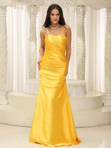 Yellow One Shoulder Appliqued Marine Corps Ball Gown with Ruche