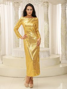 Gold Ankle-length Bateau Sequin Military Ball Gown with Long Sleeves