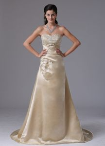 Champagne Lace-up Appliqued Marine Corps Ball Gowns Brush Train