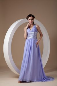 Lilac V-neck Ruched Evening Gowns for Military Ball with Cutout Back
