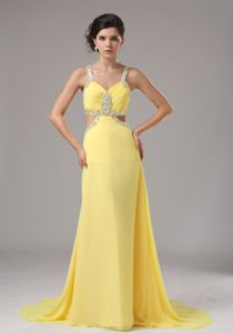 Plus Size Yellow Brush Train Beaded Formal Dress with the Back out