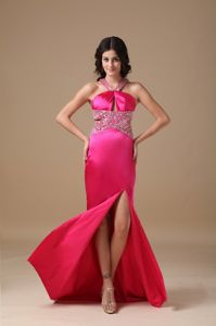 Hot Pink High Slit Beaded Military Ball Gowns with Criss Cross Back
