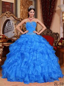 Blue Ball Gown Sweetheart Military Ball Formal Dress with Ruffle
