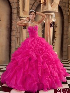 Ruffled Strapless Beaded Puffy Plus Size Formal Dress in Hot Pink