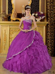 Appliqued Beaded Purple Ruffled Puffy Dresses for Military Ball