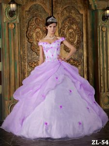 Off the Shoulder Appliqued Puffy Military Ball Dress in Lavender