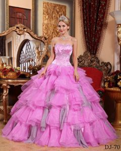 Pink Strapless Puffy Gowns for Military Ball with Ruffled Layers