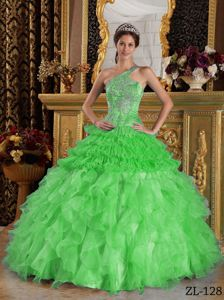 Spring Green Ruffled Dresses for the Military Ball One Shoulder