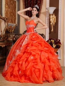 Orange Red Sweetheart Pick-ups Evening Gowns for Military Ball