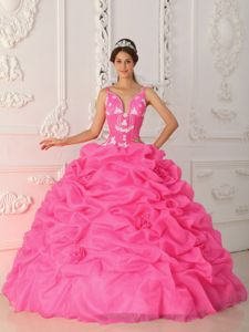 Latest Pick-ups Puffy Ball Gown Straps Military Ball Dress in Pink