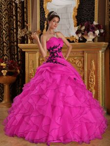 Hot Pink Ball Gown Appliqued Military Ball Dresses Sweetheart