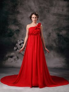 One Shoulder Court Train Chiffon Formal Dress for Military Ball