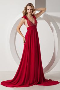 Wine Red A-line Straps Military Ball Formal Dresses Brush Train