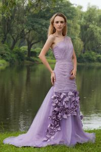 Hand Made Flower One Shoulder Lilac Military Ball Formal Dresses