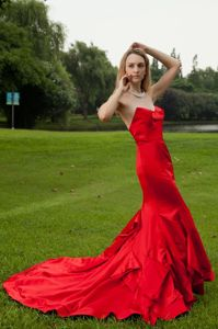 Sweetheart Court Train Red Military Ball Gowns in Mermaid Style