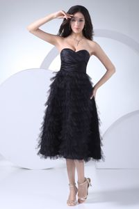 Zipper-up Black Tea-length Ruched Military Ball Dresses with Ruffles