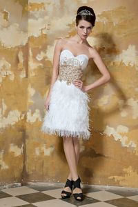 White Sweetheart Beaded Short Dress For Military Ball with Feather