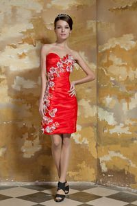Sweetheart Red Short Evening Dresses For Military Ball with Flowers