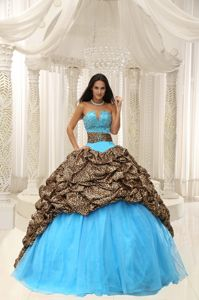 Colorful Leopard Sweetheart Long Military Ball Attires with Pick-ups