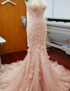 Mermaid With Train Baby Pink Ball Gown Prom Dress Sweetheart Sleeveless Chapel Train Zipper