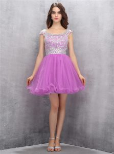 Customized Tulle Scoop Sleeveless Zipper Beading Military Ball Gown in Lilac