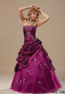 Lace-up Military Ball Gowns in Fuchsia with Embroidery and Flowers