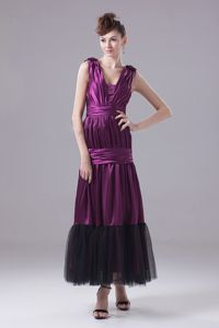 Elegant Eggplant Purple Ruched Ankle-length Plus Size Formal Dress