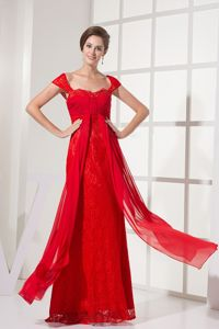Square Cap Sleeves Long Ruched Cheap Military Ball Dresses in Red