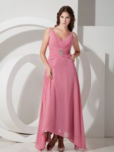 V-neck Ankle-length Pink Ruched Plus Size Formal Dress with Straps