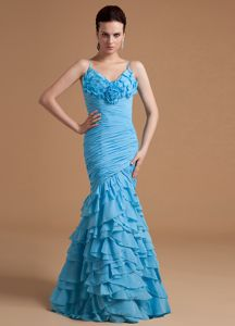 Spaghetti Straps Mermaid Ruffled Baby Blue Military Ball Gowns