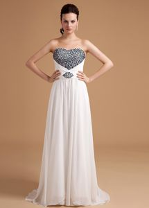 Hot Sale White Brush Train Military Ball Gown with Black Beading
