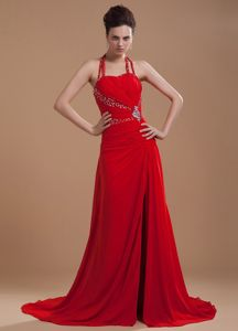 Free Shipping Chiffon Halter Top Beaded Red Military Ball Gowns